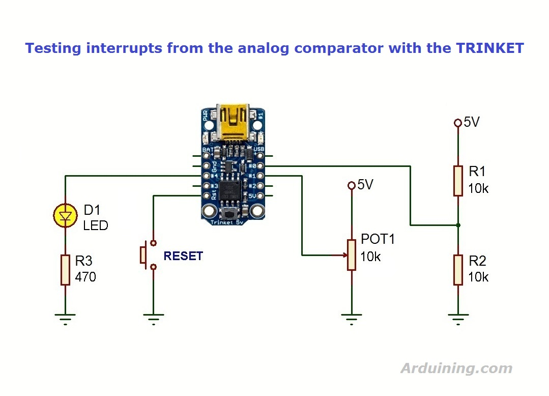 Interrupts with the TRINKET og comparator – Arduining on
