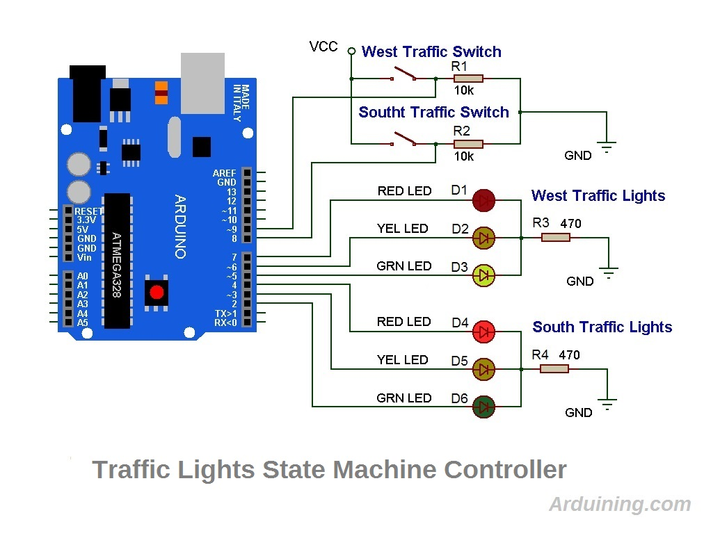 traffic light , finite state machine with arduino – arduining arduino traffic light wiring diagram  arduining