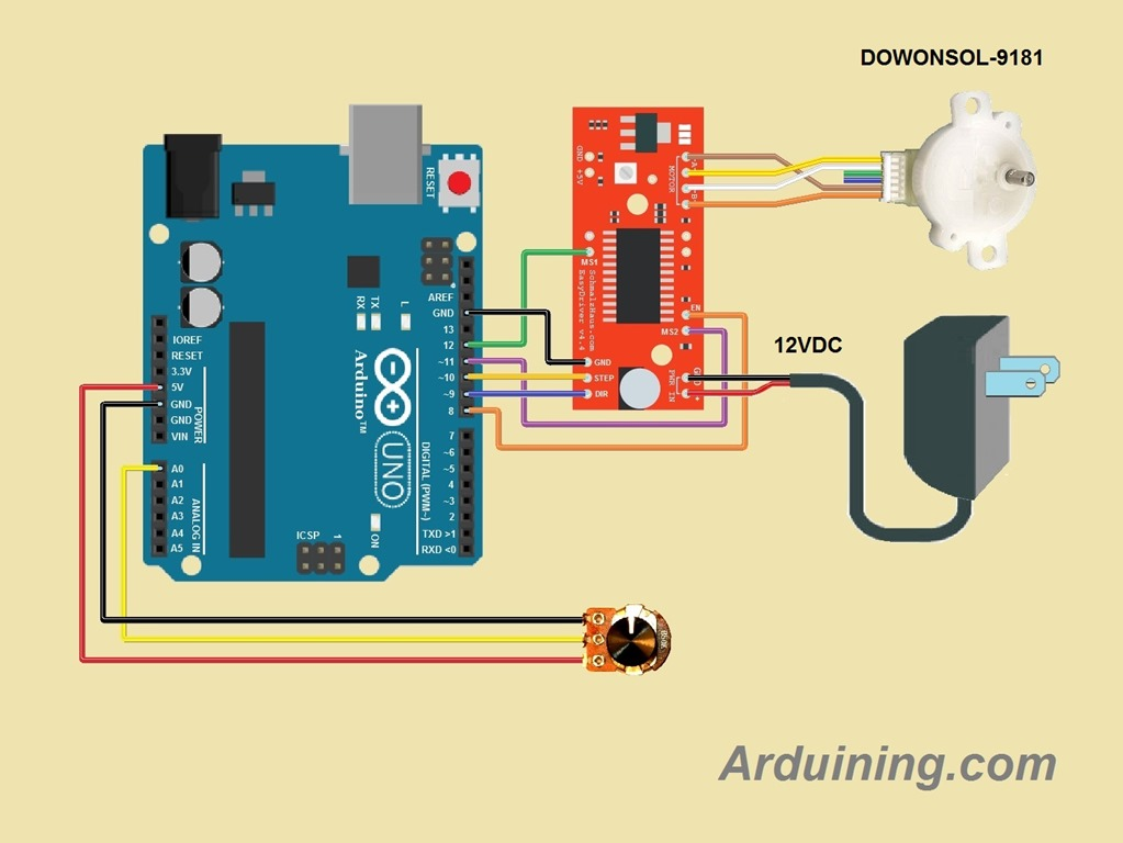 Using Bipolar Stepper Motors With Arduino and Easy Driver
