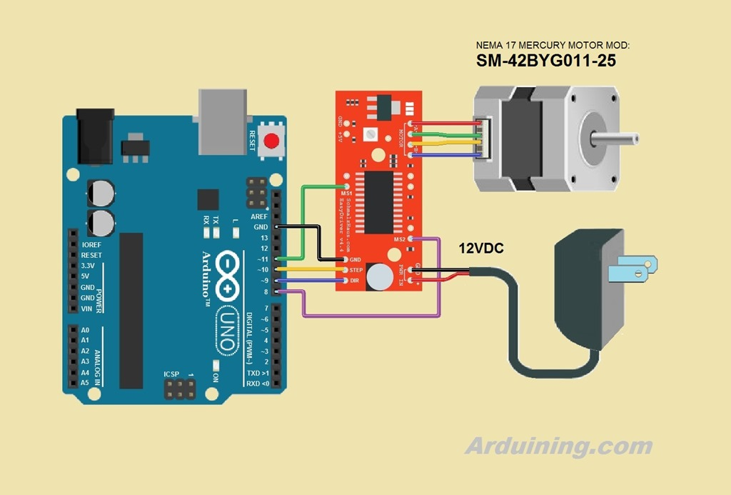 Incredible Using Bipolar Stepper Motors With Arduino And Easy Driver Arduining Wiring 101 Capemaxxcnl